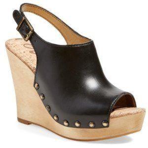 Sam Edelman Camilla Leather Wooden Wedge Sandals